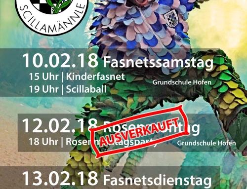 Rosenmontagsparty AUSVERKAUFT! – Karten Scillaball noch im VVK