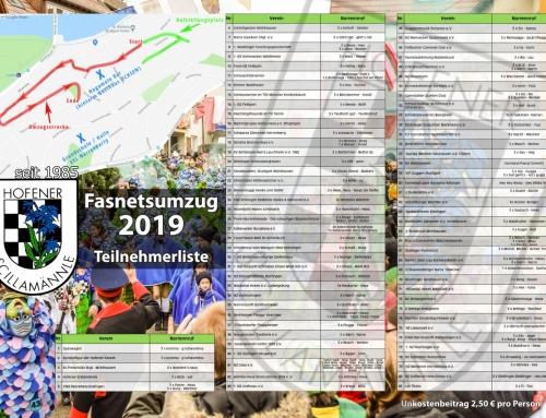 Fasnetumzug Hofen 05.03.2019 – Teilnehmerliste
