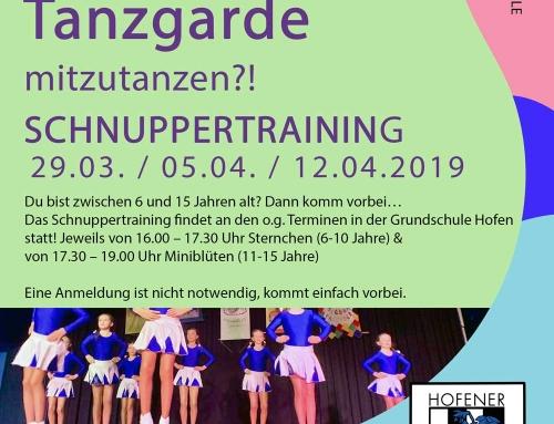 Schnuppertraining Tanzgarde 2019